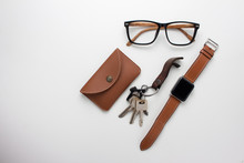 Objects Made By Brown On White Background.Top View