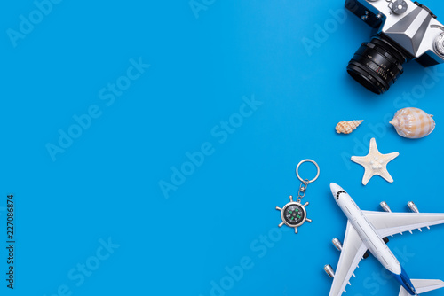 Fototapeta Summer Travel accessories on blue background obraz na płótnie