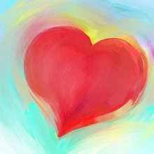Red Heart Background Design For Love Icon Wedding Or Valentine's Day Illustration With Painted Colorful Texture In Abstract Design