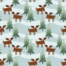Cute Christmas Moose Seamless ...