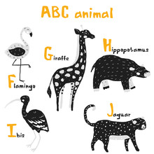 Scandi Cute Animals Set Abc Alphabet, Set For Kids Abc Elements In Scandinavian Style