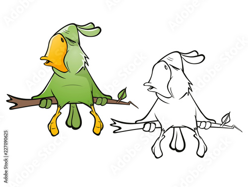 Illustration of a Cute Green Parrot. Cartoon Character. Outline