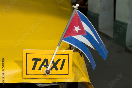 Cuban Taxi With The National Flag Of Cuba Wallpaper Mural