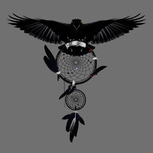 Crow  In Flight With Dreamcatcher On Grey Background, Low Poly Triangular Ethnic Vector Illustration EPS 10 Isolated On Grey.  Polygonal Style Trendy Modern Logo Design.
