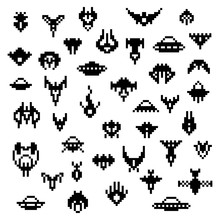 Pixel Alien Spaceships, A Vector Set Of Retro Style 8 Bit Icons, Old School Pixel Art Space Game Sprites, Various Classic Invaders Ship Silhouettes Isolated On White