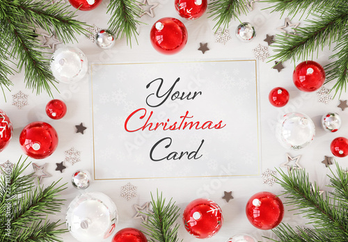 Christmas Card On White Surface With Ornaments Mockup