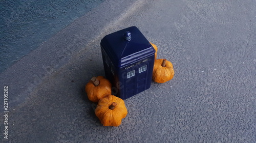 Fototapeta British police box with pumpkins around it 1