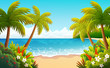 Tropical island vector illustration. Beach with palm trees, bushes and flowers.