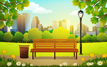 Vector Illustration Of Bench And Streetlight In City Park With Skyscrapers Background In Spring.