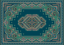 Vintage Luxurious Carpet In Green And Blue Shades With A Pattern On A Blue Field In The Center