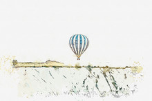 A Watercolor Sketch Or Illustration. Hot Air Balloon In The Sky In Kapadokia In Turkey. The Famous Tourist Attraction Of Cappadocia Is An Air Flight.