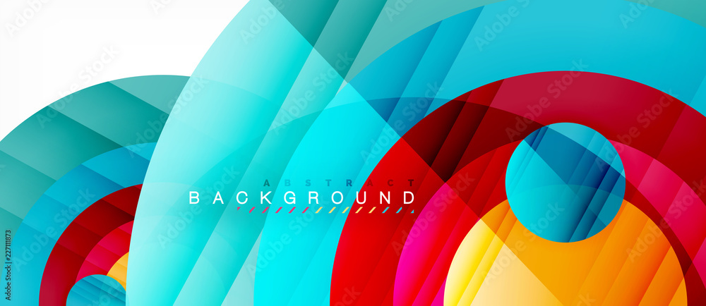 Fototapety, obrazy: Glossy colorful circles abstract background, modern geometric design