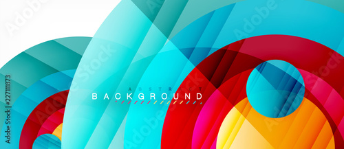 Fotografie, Obraz  Glossy colorful circles abstract background, modern geometric design