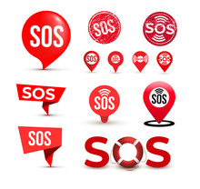 Set Of SOS Marker, Sign, Icon,...