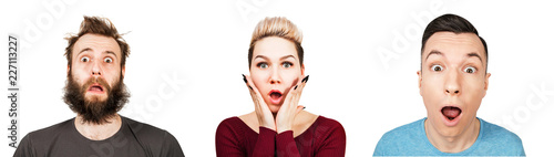 Photo Set of portraits of surprised young people with open mouth isolated on a white background