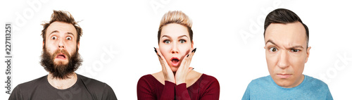 Photo Set of portraits of young people with surprised emotions isolated on a white background