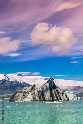 Wonderful view of Glacier Lagoon, Jokulsarlon, on South Iceland