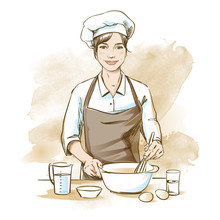Smiling And Happy Female Chef. Woman Chef Is Cooking With Whisk. Hand Drawn Vector Illustration On Artistic Watercolor Background.