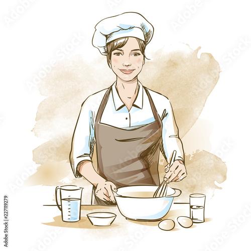 Obraz na płótnie Smiling and happy female chef