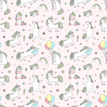 Seamless Pattern Of Hand-drawn Cartoon Magical Unicorns With Diamonds, Hearts, Balloons, Flowers, Stars, Crowns. Vector Image For Holiday, Baby Shower, Prints, Wrapping Paper, Girl's Birthday.