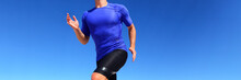 Sport Runner Male Athlete Running In Compression Sportswear Clothing Outdoor On Blue Background. Panoramic Banner Of Man On Run Race.