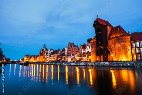 obraz dibond A night view of the old town of Gdansk, Poland