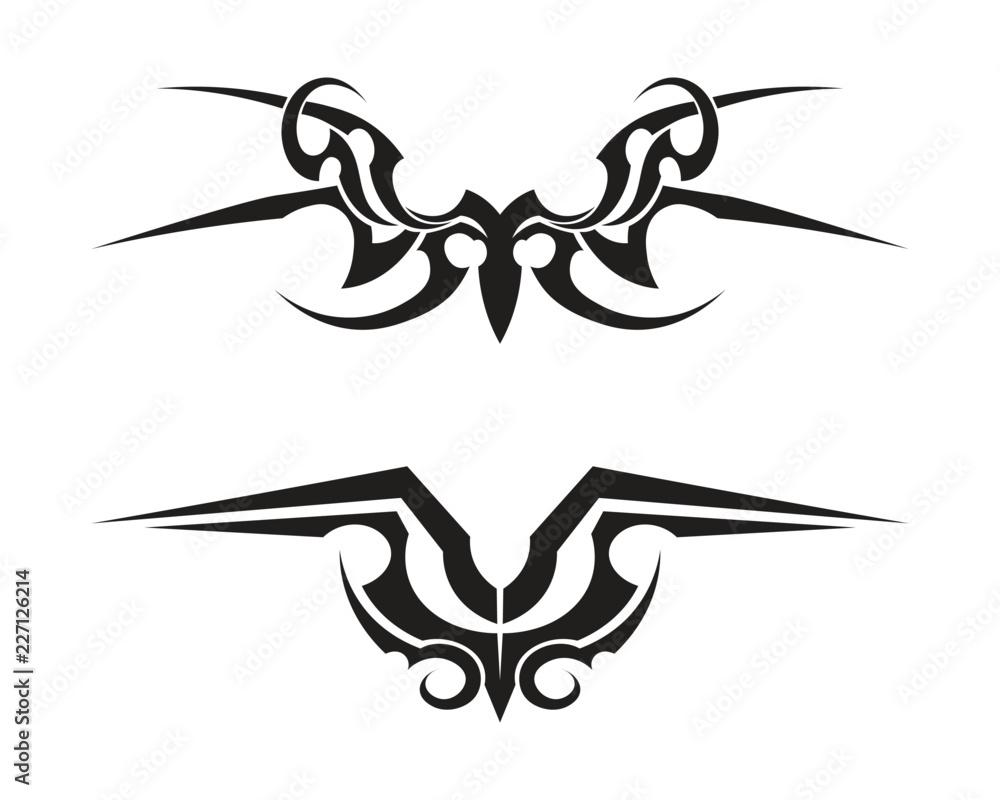 Fototapeta tribal tatto collection set  flame tatoo totem Vector Illustration design