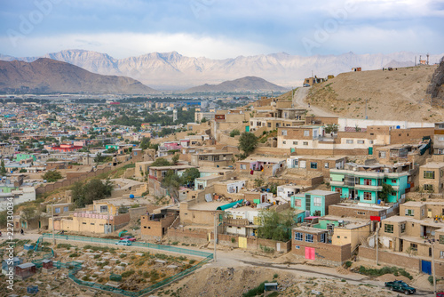Photo Kabul Afghanistan city scape skyline, mosque and Kabul hills mountains with hous