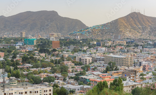 Αφίσα Kabul Afghanistan city scape skyline, mosque and Kabul hills mountains with hous