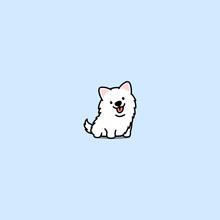Cute Samoyed Dog Cartoon Icon, Vector Illustration