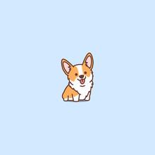 Cute Corgi Puppy Cartoon Icon,...