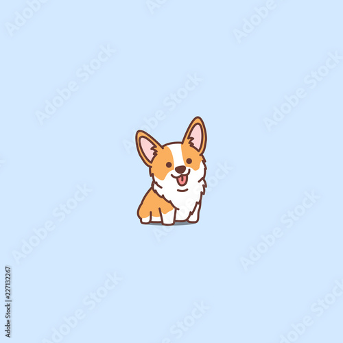 Photo Cute corgi puppy cartoon icon, vector illustration