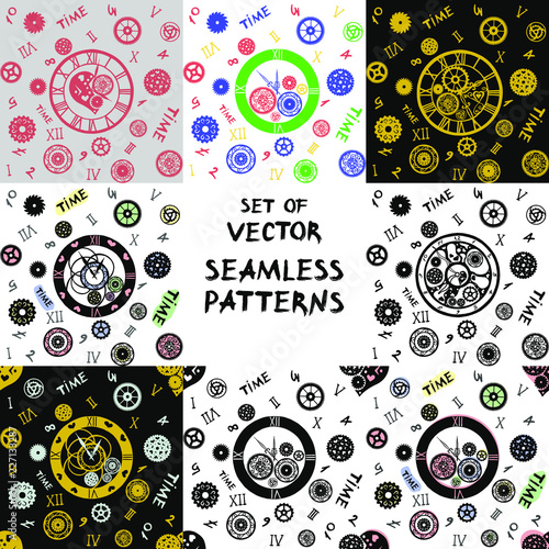Set of eight vector seamless patterns  Watches in the