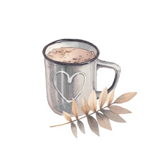 Watercolor Season Illustration. Cozy Isolated Object: Cocoa Cup And Autumn Leaves On White Background. Hand Drawn Cute Icon.