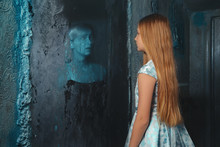 Lunatic Young Girl Looking In The Mirror And Seeing In Reflection A Ghost Of Murdered Woman