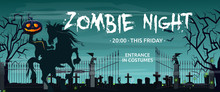 Zombie Night, This Friday Lettering With Headless Horseman And Graveyard. Invitation Or Advertising Design. Typed Text, Calligraphy. For Leaflets, Brochures, Invitations, Posters Or Banners.