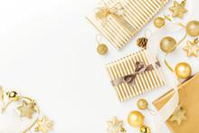 Christmas Golden Decoration On White