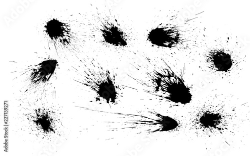 Fotografía  Vector set of grunge ink stains