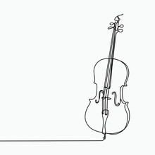 Cello Vector With One Line Art...
