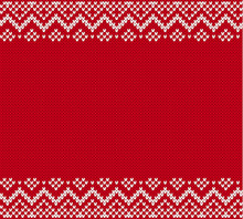 Knitted Pattern For A Sweater In Fair Isle Style. Knit Geometric Ornament With Empty Place For Text.