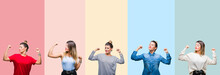 Collage Of Young Beautiful Woman Over Colorful Vintage Stripes Isolated Background Showing Arms Muscles Smiling Proud. Fitness Concept.