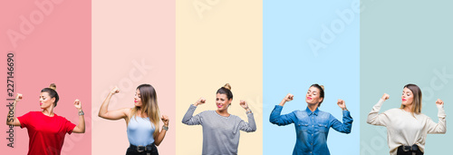 Fotomural Collage of young beautiful woman over colorful vintage stripes isolated background showing arms muscles smiling proud