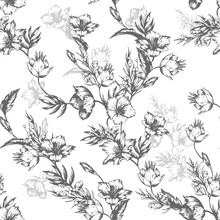 Vintage Flowers Clematis. Seamless Pattern. Vector Illustration For Phone Case, Fabrics, Textiles, Interior Design, Cover, Paper, Gift Packaging.