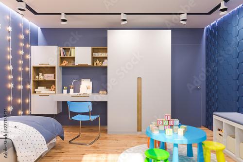 3d render of the children\'s bedroom interior in deep blue ...