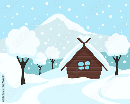 Fotobehang Lichtblauw Winter landscape. Winter snowy background with house, mountains and trees. Cartoon flat vector illustration.