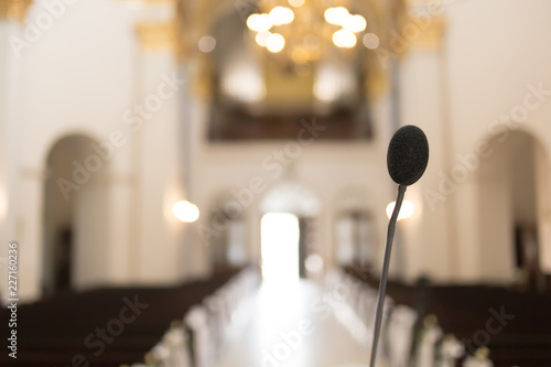 Fotografie, Obraz  microphone in church
