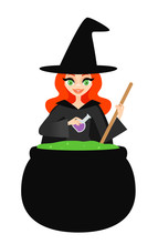 Vector Illustration Of A Witch...