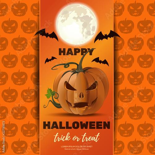 Fotografie, Obraz  Halloween poster design with Jack o lantern