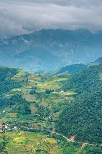 Mu Cang Chai terraces rice fields in harvest season