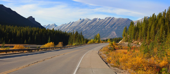 Scenic road Ice fields parkway in Jasper national park